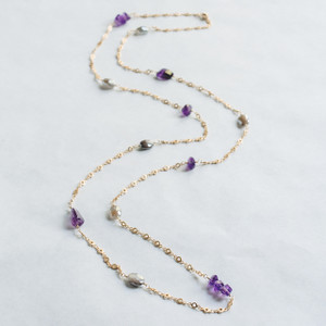 Labradorite and Amethyst Gold Necklace