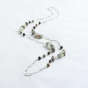 Florite and Larokite Silver Necklace
