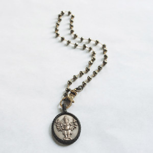 Pyrite and Tibetan Pendant Necklace