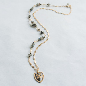 Labradorite and Pyrite Shield Necklace