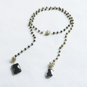 Pyrite and Black Spinel Lariat