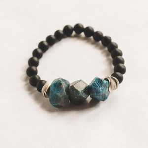 Matte Black Onyx and Apatite Stretch Bracelet