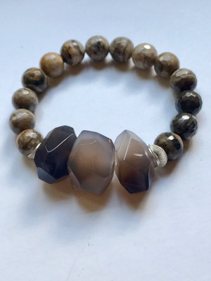 Botswana Agate and Jasper Stretch Bracelet