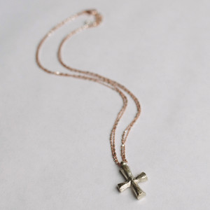 Rose Gold and Silver Cube Chain with Tibetan Cross Necklace