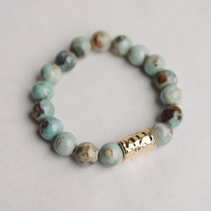 Porcelean Agate and Gold Cylinder Bracelet