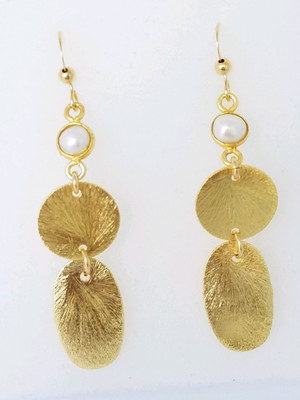 Matte Gold Multishape and Pearl Earrings