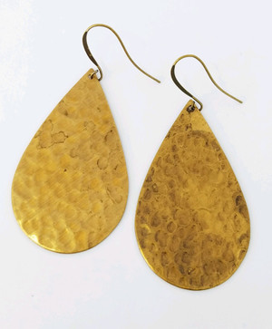 Vintage Brass Hammered Teardrop Earrings
