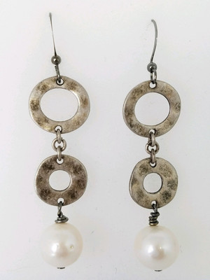 Silver Hammered Circle Earrings with White Freshwater Pearls