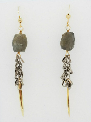 Labradorite and Silver Chain with Gold Spike Earrings