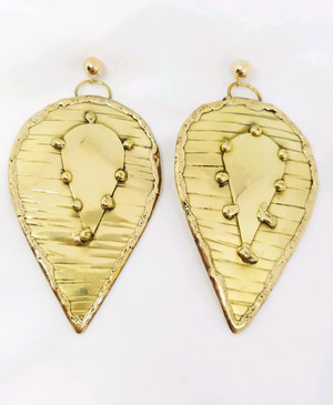Hand made Brass Leaf on Gold Post Earrings