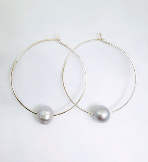 Large Silver Hoops with Grey Freshwater Pearls
