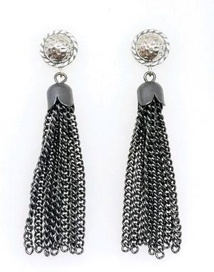 Tassel in Gunmetal and Silver Post Earrings