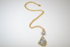 Mushroom Druzy and Gold Chain with Grey Baroque Pearl Necklace