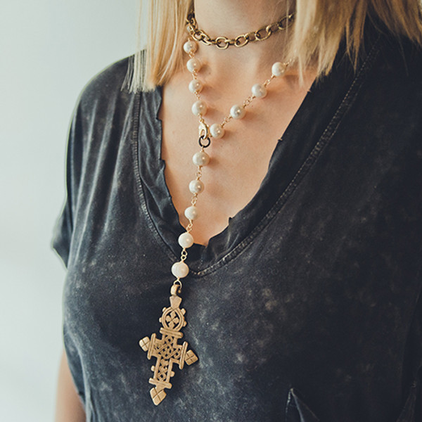Freshwater Pearls and Tibetan Cross Necklace