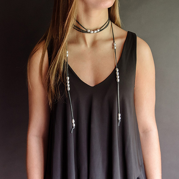Black Leather  and Pearl Wrap Choker