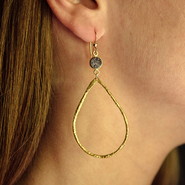 Hammered Teardrop and Grey Druzy