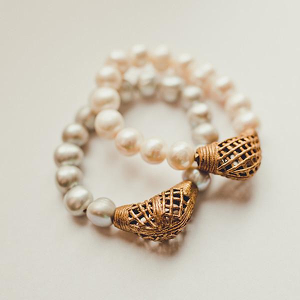 Freshwater Pearl and Tibetan Bead Bracelet