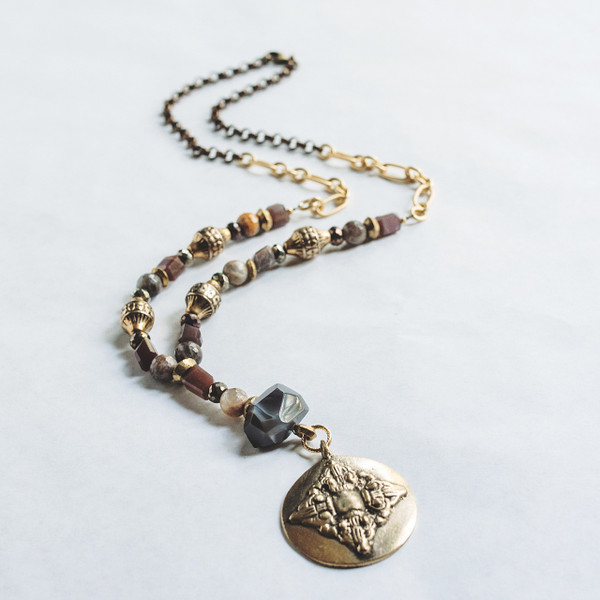 Botswana Agate and African Wedding Ring Necklace