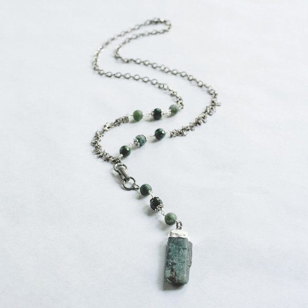 Green Moss Agate and Kynite Necklace