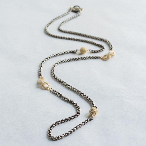 Antique Silver and CZ Necklace