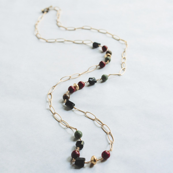 Black Tourmaline and Gold Necklace
