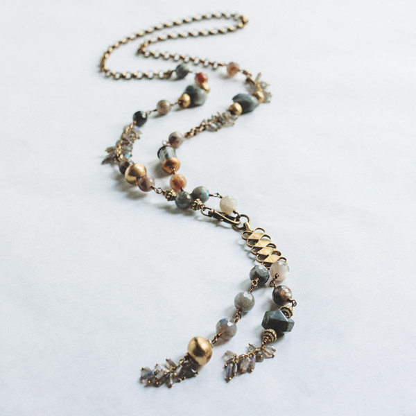 Brass and Agate and Labradorite Necklace