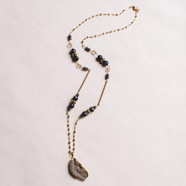 Dumortierite and Druzy Necklace