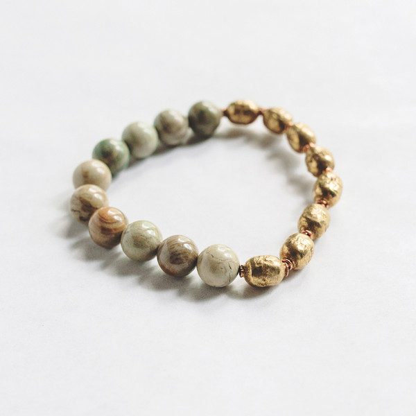 Silvermist Jasper and African Prayer Bead Stretch Bracelet