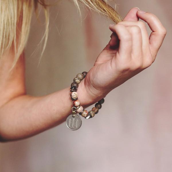 Bronzite Belly Dancing Coin Stretch Bracelet
