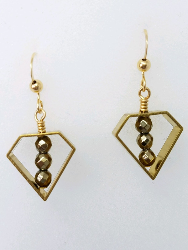 Brass Geometric Shape with Gold Hematite Earrings
