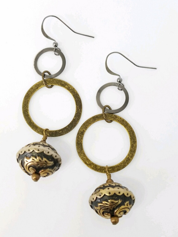 Brass and Gunmetal Circles and Chanel Bead Earrings