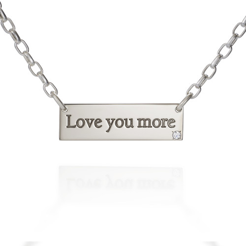 """""""Love You More"""" Sterling Silver bar necklace with Diamond"""