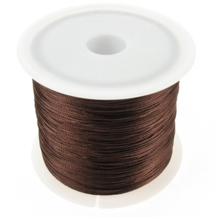 Macramé Twisted Nylon Cord Thin (0.3mm) 100m Roll - Brown