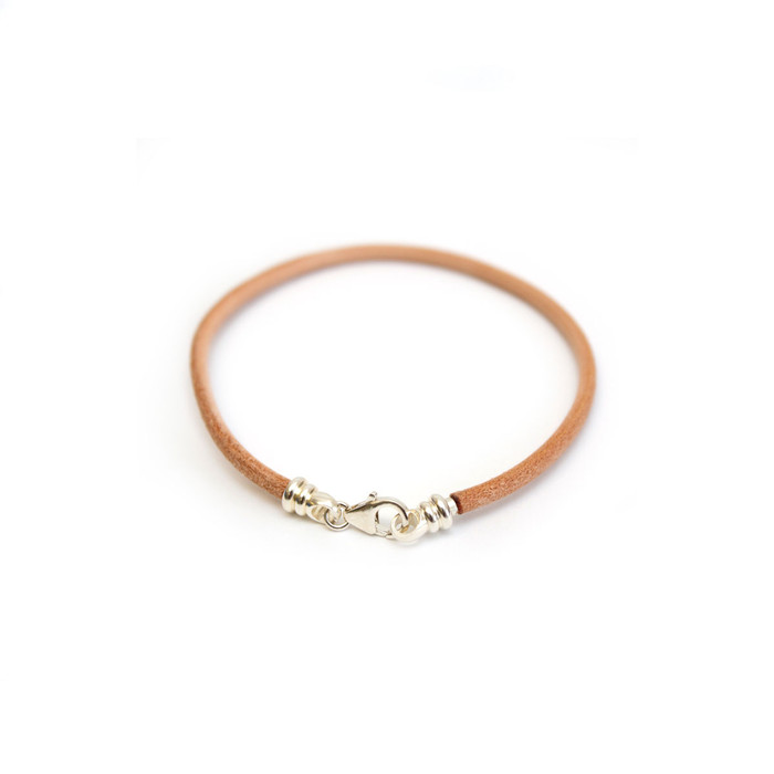 Bracelet - 3mm Brown Leather Cord/Sterling Silver