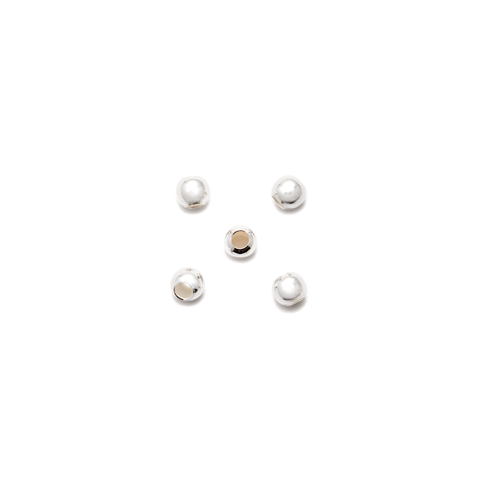 Sterling Silver Round Ball Beads - 3mm - Pack of 5
