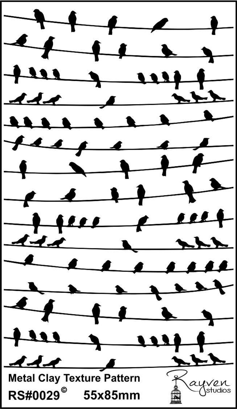 RS Laser Texture Paper - Birds on a wire - Metal Clay Ltd