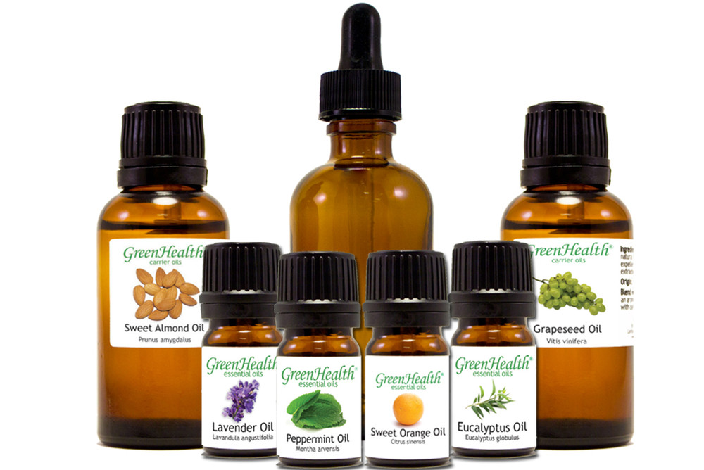 Essential 101: Starter Set, contains: 2oz amber bottle with dropper, 1oz sweet almond, 1 oz grapeseed, 5ml eucalyptus, 5ml sweet orange, 5ml peppermint, 5ml lavender essential oils.