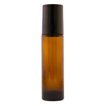 10 ml Amber Roll On Glass Bottle w/ Black Cap & Clear Plastic Roller (Case of 144)