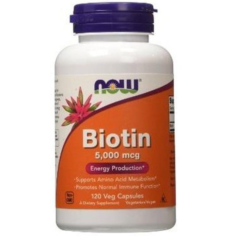 Biotin 5000mcg (120 vcaps) - Now Foods