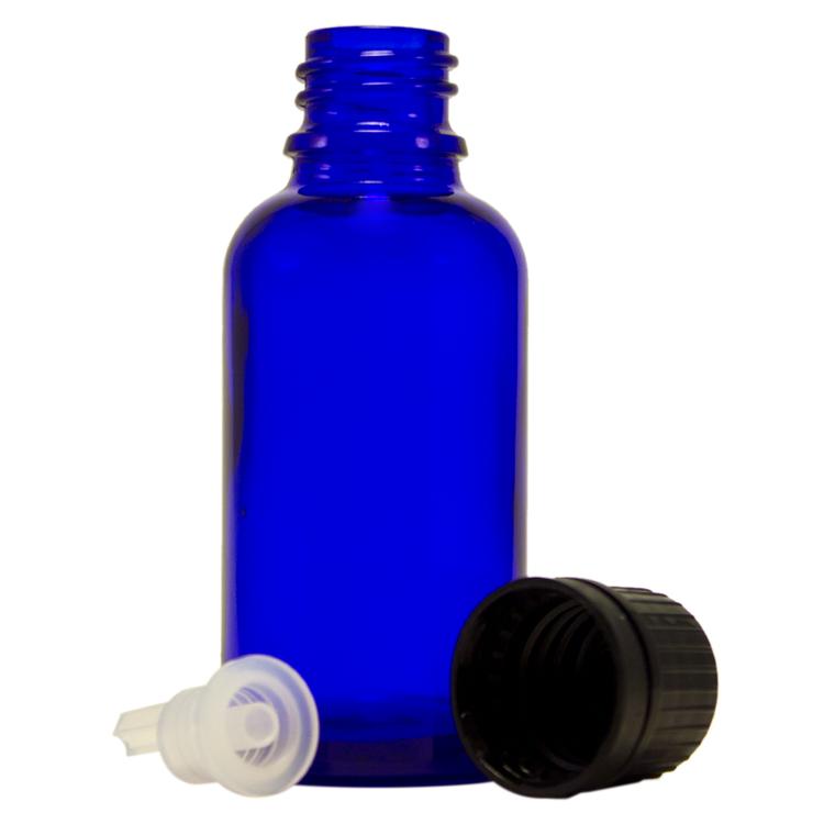 1 fl oz (30 ml) Cobalt Blue Glass Bottle w/ Euro Dropper