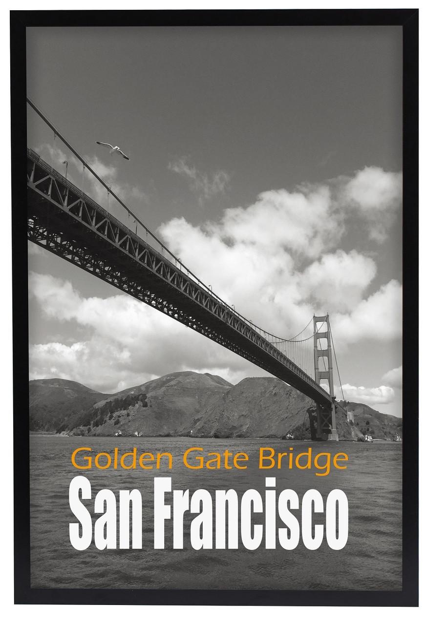 20X30 Poster Frame, Pre-Assembled Black Wood Composite, Golden Gate ...