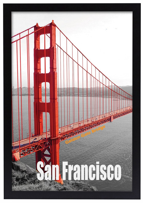13x19 Poster Frame, Pre-Assembled Black Wood Composite, Golden Gate ...