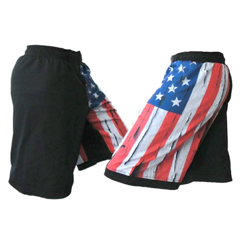Distressed USA Flag MMA Shorts