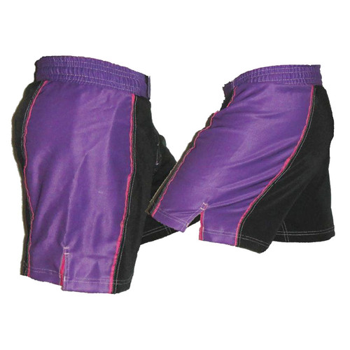 Black and Purple Striped Female MMA Shorts