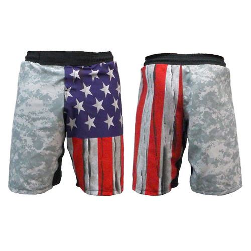 Distressed USA Flag and ACU MMA Shorts