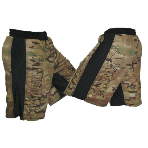 Multicam with Black Stripe Army Combatives Fight Shorts
