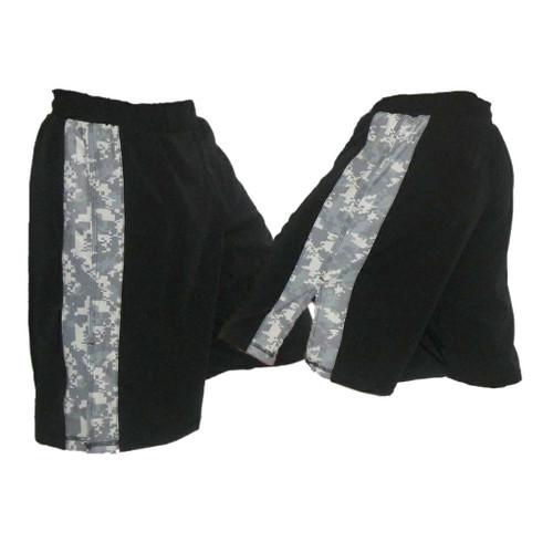 Black MMA Fight Shorts with ACU Stripe