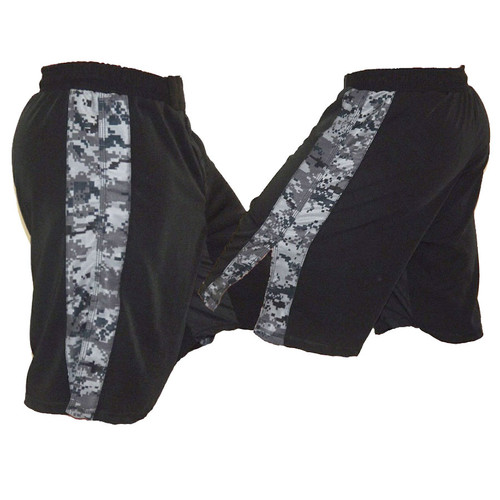 Black MMA Fight Shorts with NWU Stripe