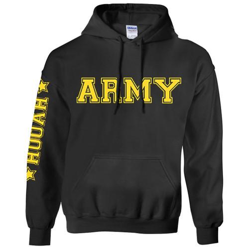 Army Hoodie Black wth Gold Print - Hooah Army