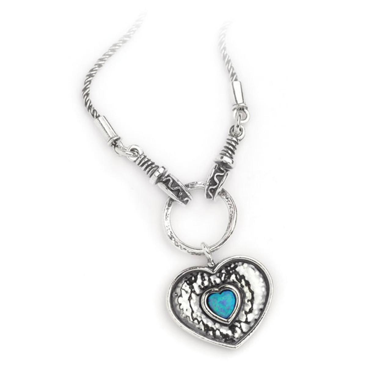 Asn982 chunky heart with opal heart necklace on rope chain aviv silver asn982 chunky heart with opal heart necklace on rope chain aloadofball Gallery